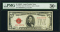 Small Size:Legal Tender Notes, Fr. 1530 $5 1928E Mule Legal Tender Note. G-A Block. PMG V...