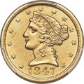 Liberty Half Eagles, 1847-O $5 -- Altered Surfaces -- PCGS Genuine. Unc Details. Variety 1....