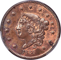 1835 1C Head of 1836, N-8, R.1, MS65 Red and Brown PCGS. CAC....(PCGS# 37061)