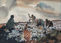 Gone With the Wind Original Concept Artworks (2) For Cotton Field and Cotton Barge (MGM, 1939)