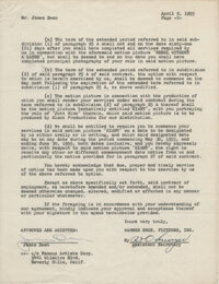 James Dean Signed Warner Bros. Document Discussing Rebel Without A Cause and G