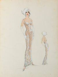 """Marilyn Monroe """"Happy Birthday Mr. President"""" Gown Sketch by Jean Louis with Fabric Swatch (1962)"""