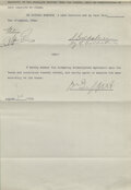 """Movie/TV Memorabilia:Autographs and Signed Items, D.W. Griffith Signed Contract for The Birth of a Nation (aka """"The Clansman"""") (D.W.Griffith Corp., 1915). ..."""