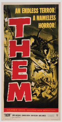 Frank Darabont Personal Three-Sheet Poster for Them! Signed by James Whitmore (Warner Bros