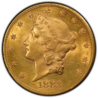 1883-S $20 AU58 PCGS. PCGS Population: (458/2548 and 3/66+). NGC Census: (452/1630 and 0/17+). CDN: $1,913.17.Whsle. Bid...