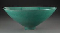 James Lovera (American, 1920-2015) Bowl, circa 1995 Porcelain 5 x 12-1/8 inches (12.7 x 30.8 cm) Incised lovera