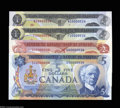 Canadian Currency: , BC-46a $1 1973 (2), BC-47a $2 1974, BC-48b $5 1972. Four ... (4notes)