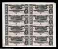 Confederate Notes:1864 Issues, T68 $10 1864 Uncut Sheet of Eight. A third, also Crisp ...