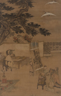 Attributed to Chen Yu (Chinese, 1313-1384) Scholars and Attendants with Painting Ink and color on silk 67 x 41 inches