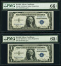 Small Size:Silver Certificates, Fr. 1607 $1 1935 Silver Certificates. A-A and B-A Blocks. ...