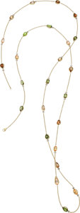 Estate Jewelry:Necklaces, Andalusite, Topaz, Diamond, Gold Necklace Ston...