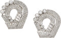 Estate Jewelry:Brooches - Pins, Diamond, Platinum, White Gold Clips. ... (Total: 2 Items)
