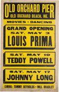 Music Memorabilia:Posters, Louis Prima, Harry James, Hot Lips Page, Guy Lombardo 1940's Big-Band Concert Posters (4).... (Total: 4 Items)