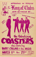 Music Memorabilia:Posters, The Coasters 1970's Vancouver, B.C. Concert Poster....