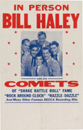 """Music Memorabilia:Posters, Bill Haley and His Comets 1955 """"Rock Around the Clock"""" Tour Blank Concert Poster...."""