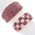 Estate Jewelry:Rings, Ruby, Colorless Sapphire, Gold Rings Stones: ...