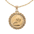 Estate Jewelry:Necklaces, Gold Coin, Silver, Yellow Metal Pendant-Necklace