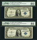 Small Size:Silver Certificates, Fr. 1608 $1 1935A Mule Silver Certificates. V-A Block. Two...