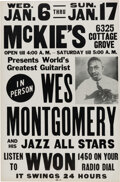 """Music Memorabilia:Posters, Wes Montgomery """"World's Greatest Guitarist"""" 1965 Chicago Concert Poster...."""