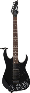 Music Memorabilia:Autographs and Signed Items, Metallica - Kirk Hammett Stage-Played & Signed Ibanez RG570 Electric Guitar (Serial #F137209, 1991)....
