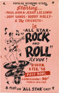 Music Memorabilia:Posters, Buddy Holly & The Crickets, Jerry Lee Lewis 1958 Hawaii Concert Poster....