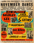 Music Memorabilia:Posters, Shirley & Lee, The 5 Satins & Others 1958 Day-Glo Globe Concert Poster....
