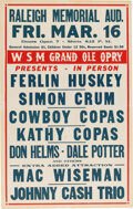 Music Memorabilia:Posters, Johnny Cash Trio Amazingly Early 1956 Bottom-Billed Concert Poster. ...