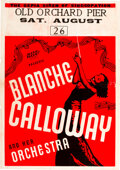 """Music Memorabilia:Posters, Blanche Calloway 1933 """"Sepia Siren of Syncopation"""" Large Concert Poster...."""