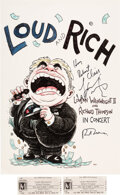 Music Memorabilia:Autographs and Signed Items, Loudon Wainwright III/Richard Thompson Signed Concert Poster With Two Used Tickets (2009)....