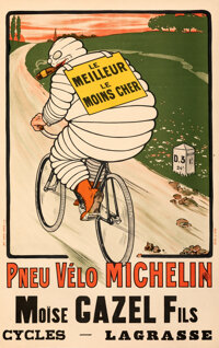 """Michelin: Le Meilleur, Le Moines Cher (Michelin, 1900s). Very Fine on Linen. French Advertising Poster (30"""" X 48&qu..."""
