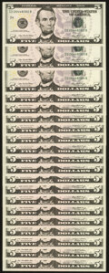 Small Size:Federal Reserve Notes, Fr. 1993-D (3); E (2); G (7); G*; K (3) $5 2006 Federal Reserve Note. Choice Crisp Uncirculated;. Fr. 1994-J (4) $5 2009 F... (Total: 20 notes)