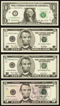 Small Size:Federal Reserve Notes, Fr. 1933-I $1 2006 Federal Reserve Note. Crisp Uncirculated;. Fr. 1988-E $5 2001 Federal Reserve Note. Crisp Uncirculated;... (Total: 4 notes)