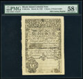 Colonial Notes:Rhode Island, Cohen 1850s Reprint Rhode Island March 18, 1750 1 Ounce 5 Pennyweight PMG Choice About Unc 58 EPQ.. ...