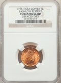 (1961) 1C Confederate States of America Cent, Bashlow Restrike, Defaced Dies, Copper, MS66 Red NGC. NGC Census: (195/563...