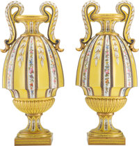 A Pair of French Sèvres-Style Partial Gilt Porcelain Two-Handled Vases, circa 1900 Marks: (blue interlaced L's-da...