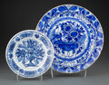 Ceramics & Porcelain, Two Chinese Export Blue and White Kraak Porcelain Table Articles, Ming Dynasty . 2-1/4 x 13-1/2 inches (5.7 x 34.3 cm) (larg... (Total: 2 Items)