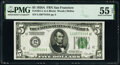 Fr. 1951-L $5 1928A Federal Reserve Note. PMG About Uncirculated 55 EPQ
