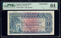 Egypt National Bank of Egypt 1 Pound 2.8.1919 Pick 12as Specimen PMG Choice Uncirculated 64