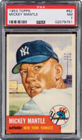 Baseball Cards:Singles (1950-1959), 1953 Topps Mickey Mantle #82 PSA NM 7. From the be...