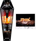 """Music Memorabilia:Autographs and Signed Items, Metallica Signed Glossy Photo Print With Acrylic Coffin Wall Art, Picks (4) and """"World Magnetic"""" Backstage Passes (2). ... (Total: 2 Items)"""