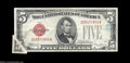 Error Notes:Attached Tabs, 1928D $5 Legal Tender Note, Fr-1529, VF, with dramatic printed ...