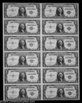 Small Size:Silver Certificates, Fr. 1607 $1 1935 Silver Certificates. Uncut Sheet of Twelve. ...