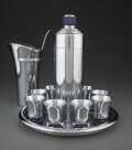 Silver & Vertu, Chase Brass and Copper Company (American, est. 1876). Blue Doric Cocktail Set with Viking Cocktail Mixer,