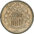 1867 5C Rays, Repunched Date, FS-301, AU58 PCGS. CAC....(PCGS# 38319)