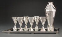 Maison Desny (French, est. 1922) Eight-Piece Cocktail Set, circa 1930 Silver-plated brass 10-1/4 x 4-1/4 inches (26.0...