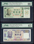 World Currency, China Bank of Taiwan 1000; 100 Yuan 1981; 1972-75 Pick 1988; R124 Two Examples PMG Superb Gem Unc 67 EPQ; Gem Uncirculated... (Total: 2 notes)