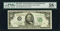 Fr. 2107-E $50 1950 Federal Reserve Note. PMG Choice About Unc 58 EPQ