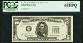 Small Size:Federal Reserve Notes, Fr. 1961-G* $5 1950 Wide I Federal Reserve Star Note. PCGS...