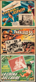 """Movie Posters:Drama, Underwater! & Other Lot (Mario J. Dada, 1955). Fine+. Mexican Lobby Cards (3) (13"""" X 17""""), One Sheet (27"""" X 41""""), Photo (8"""" ... (Total: 6 Items)"""
