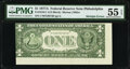 Error Notes:Gutter Folds, Gutter Fold Error and Misaligned Back Printing Error Fr. 1910-C $1 1977A Federal Reserve Note. PMG About Uncirculated 55 EPQ....
